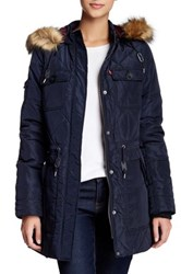 Levi's Faux Fur Hood Diamond Quilted Parka Blue