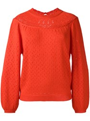 Manoush Perforated Pullover Yellow Orange