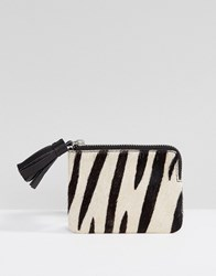 Asos Leather Zebra Print Mini Coin Purse With Tassel Multi