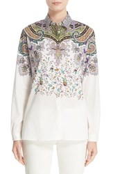 Etro Women's Floral And Paisley Print Stretch Cotton Shirt