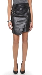 Just Female Came Leather Skirt Black