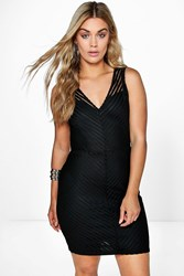 Boohoo Jasmine Sheer Panel Bodycon Dress Black