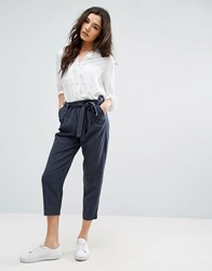 Only Pinstripe Ankle Trouser Total Eclipse Navy