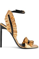 Saint Laurent Edie Ruffled Metallic Snake Effect Leather Sandals Gold