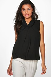 Boohoo High Neck Sleeveless Blouse Black