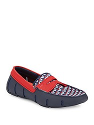 Swims Moc Toe Multicolor Penny Loafers Navy