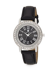 Adrienne Vittadini Pave Bezel Silvertone And Croc Embossed Faux Leather Watch Black Silver