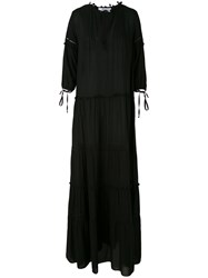 Blugirl Flared Maxi Dress Women Viscose 44 Black