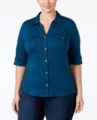 Style And Co Plus Size Three Quarter Sleeve Utility Shirt New Rustic Teal