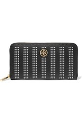 Tory Burch Robinson Perforated Leather Wallet Black