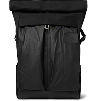 Atelier De L'armee Leather Trimmed Cotton Canvas Backpack Black
