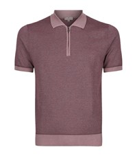 Canali Cotton Pique Polo Shirt Male Red