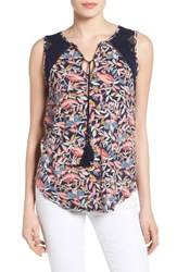 Lucky Brand Women's Della Back Keyhole Floral Knit Tank