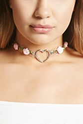 Forever 21 Heart Ring Rose Choker Silver Clear
