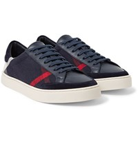 Burberry Suede Trimmed Leather And Checked Canvas Sneakers Navy