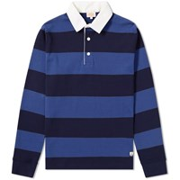 Armor Lux 76886 Long Sleeve Stripe Rugby Shirt Blue