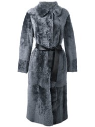 Drome Shearling Belted Long Coat Grey