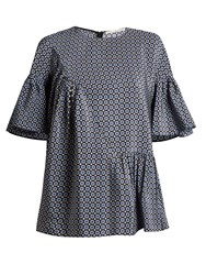 Stella Mccartney Santi Ruffle Trimmed Geometric Print Top Navy Print