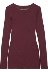 Enza Costa Ribbed Cotton Jersey Top Burgundy
