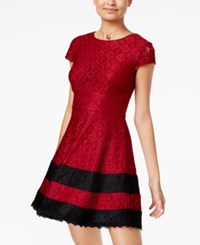 Teeze Me Juniors' Lace Fit And Flare Dress Burgundy Black