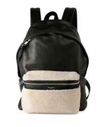 Rider Leather Backpack With Lamb Shearling Black Saint Laurent