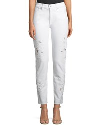 Ralph Lauren 444 Sequined Lace Skinny Leg Jeans White