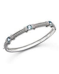 Judith Ripka Sterling Silver Three Cushion Bangle With Blue Topaz Blue Silver