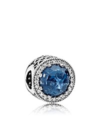 Pandora Design Charm Sterling Silver Glass And Cubic Zirconia Radiant Hearts Moments Collection Blue Silver