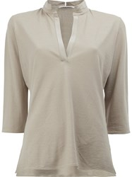 Lamberto Losani V Neck Cropped Sleeve Blouse Nude Neutrals
