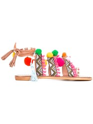 Gia Couture Pom Pom Sandals Women Cotton Leather 41 Pink Purple