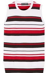 Dolce And Gabbana Striped Cashmere Silk Blend Tank Red