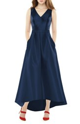 Alfred Sung Women's High Low Sateen Twill Gown Midnight