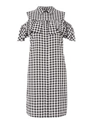 Therapy Lacey Gingham Cold Shoulder Frill Dress Black White Black White