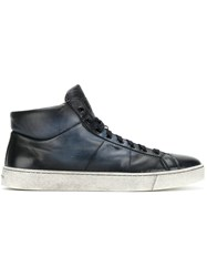Santoni Lace Up Hi Top Men Calf Leather Leather Rubber 8 Blue