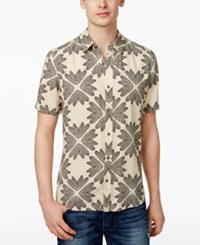 Guess Men's Wing Geo Print Cotton Shirt Feather Print Wheat