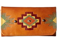 American West Adobe Allure Trifold Wallet Golden Tan Red Yellow Turquoise Green Orange Wallet Handbags Brown