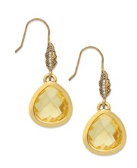 Juicy Couture Earrings 14K Gold Plated Feather Faceted Glass Teardrop Earrings