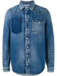 Valentino Distressed Denim Shirt Blue