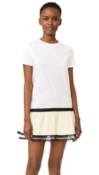 Red Valentino Lace Hem T Shirt Dress White Cream