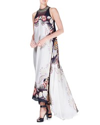 Etro Jungle Print Floral Silk High Low Gown Ivory Women's Size 48