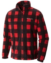 Columbia Men's Printed Steens Fleece Jacket Mountain Red