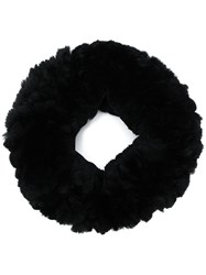Yves Salomon Rabbit Fur Knitted Collar Black