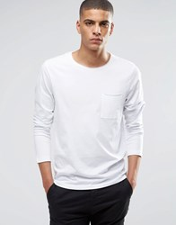 Selected Homme Long Sleeve Top With Raw Edge White