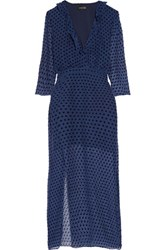 Saloni Polka Dot Georgette Midi Dress Navy