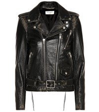 Saint Laurent Classic L17 Distressed Leather Jacket Black