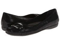 Trotters Sizzle Black Patent Suede Lizard Leather Women's Dress Flat Shoes