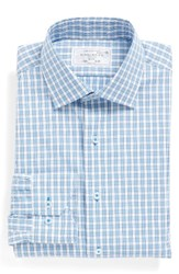 Lorenzo Uomo Men's Big And Tall Trim Fit Plaid Dress Shirt Light Blue White