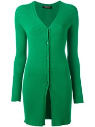Twin Set Elongated Ribbed Cardigan Green