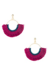 Sole Society Havana Fringe Earrings Fuschia