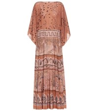 Valentino Printed Silk Crepe De Chine Maxi Dress Neutrals